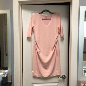PinkBlush Scalloped Trim Fitted Maternity Dress